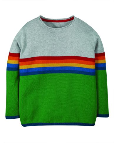 Kian Knitted Jumper Grey Marl Rainbow