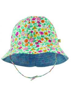 Chambray Reversible Hat Soft White Flowers