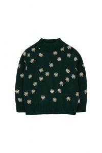 Daisies Mockneck Sweater Dark Green/Light Cream