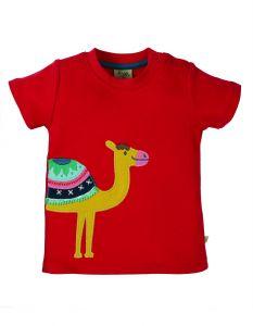 Little Creature Applique Top True Red Camel