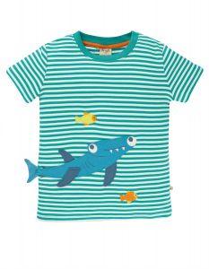 Joshua Applique T-shirt Jewel Stripe Shark