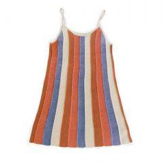 Pleated Dress - Burnt Orange/Stripes