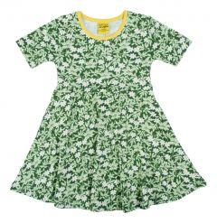 Wood Anemone - Green - Short Sleeve Skater Dress
