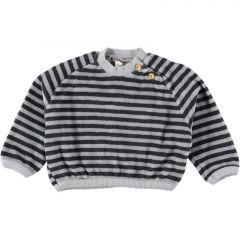 Leo Striped Cotton Velvet Sweatshirt Grey